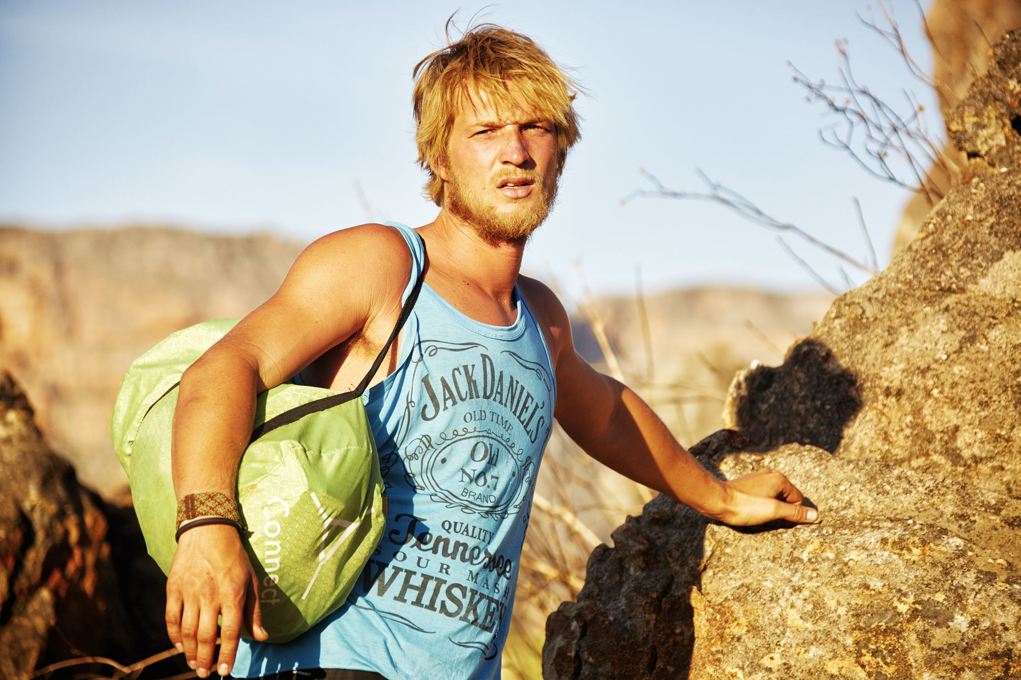 Young man on an outdoor adventure in the mountains in the cederberg near Cape Town, Soutth Africa.