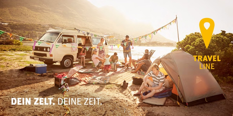 Campaign shot of a festival camping situations