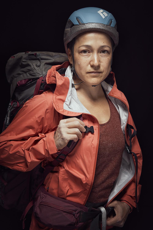 Portrait of woman mountain climber in studio