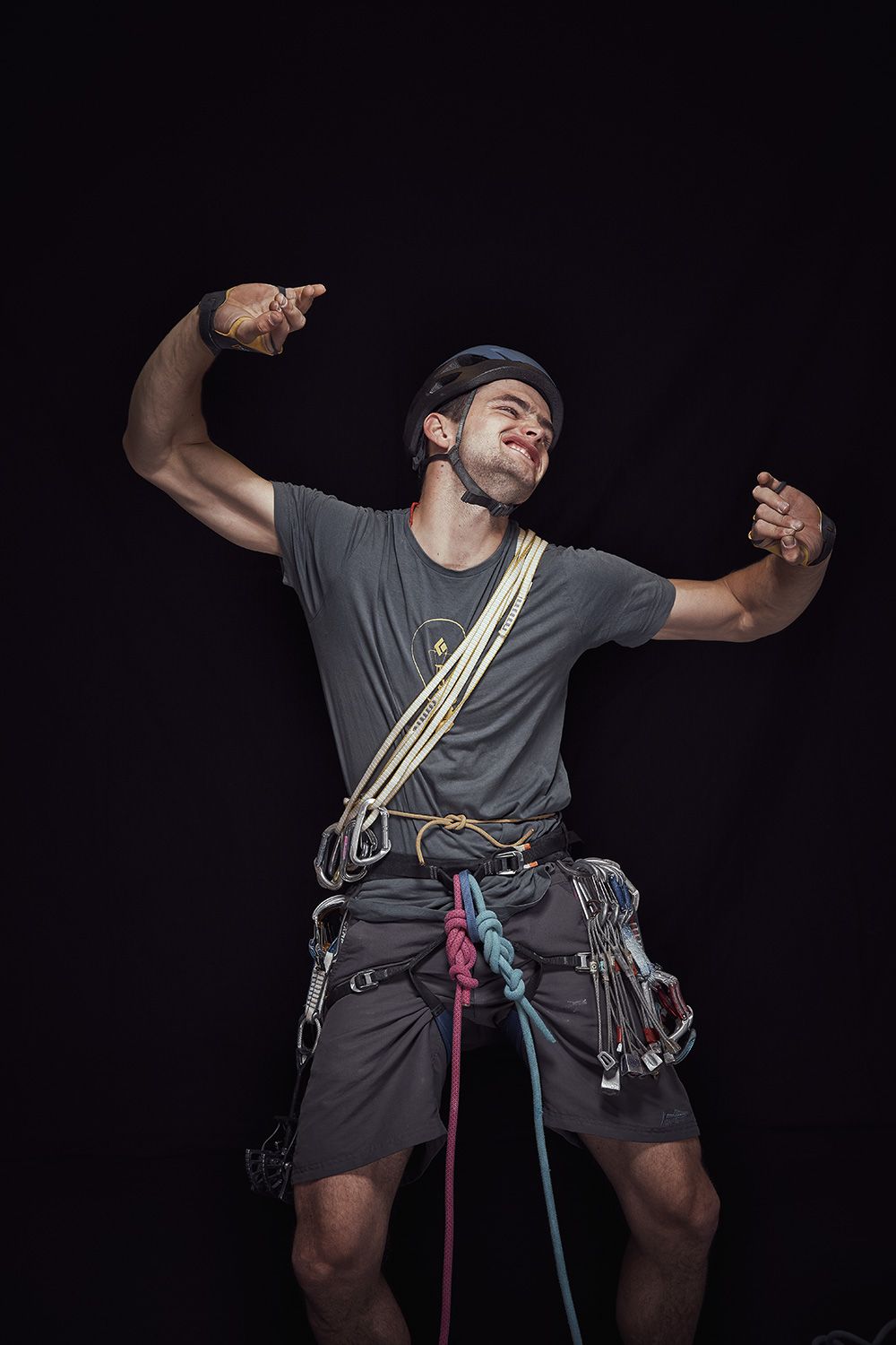 Portrait of traditional climber in studio