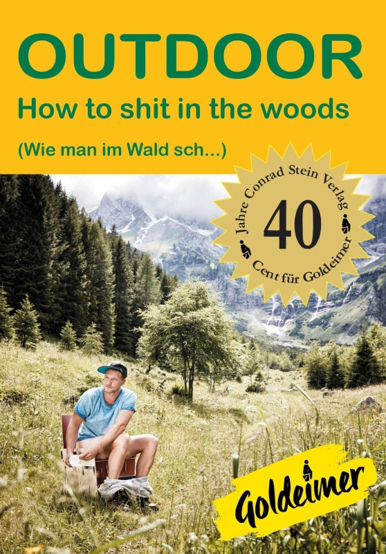 Cover photo of a man shitting in the woods by Jessica Zumpfe