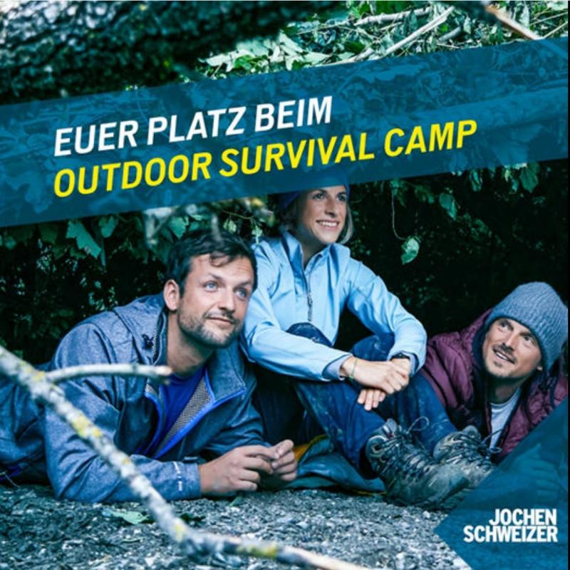 Advertisement for Jochen Schweizer of three friends sitting in a diy shelter