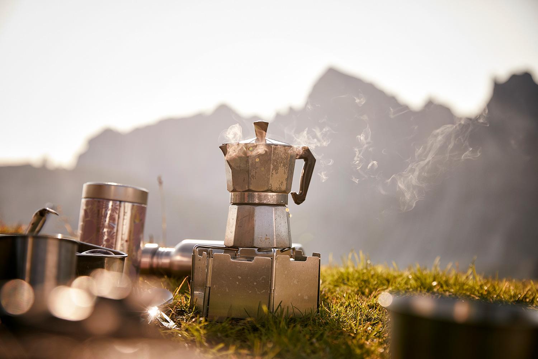 Coffee brewing in the morning sun ontop of Axamer Lizum Mountain